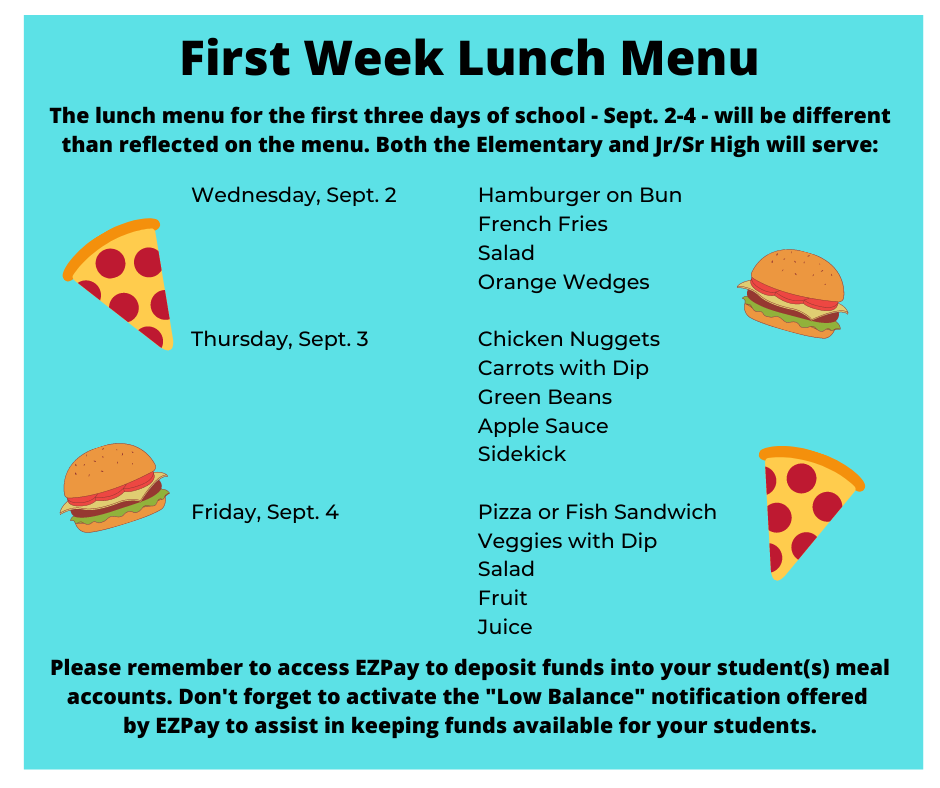 First Week Lunch Menu
