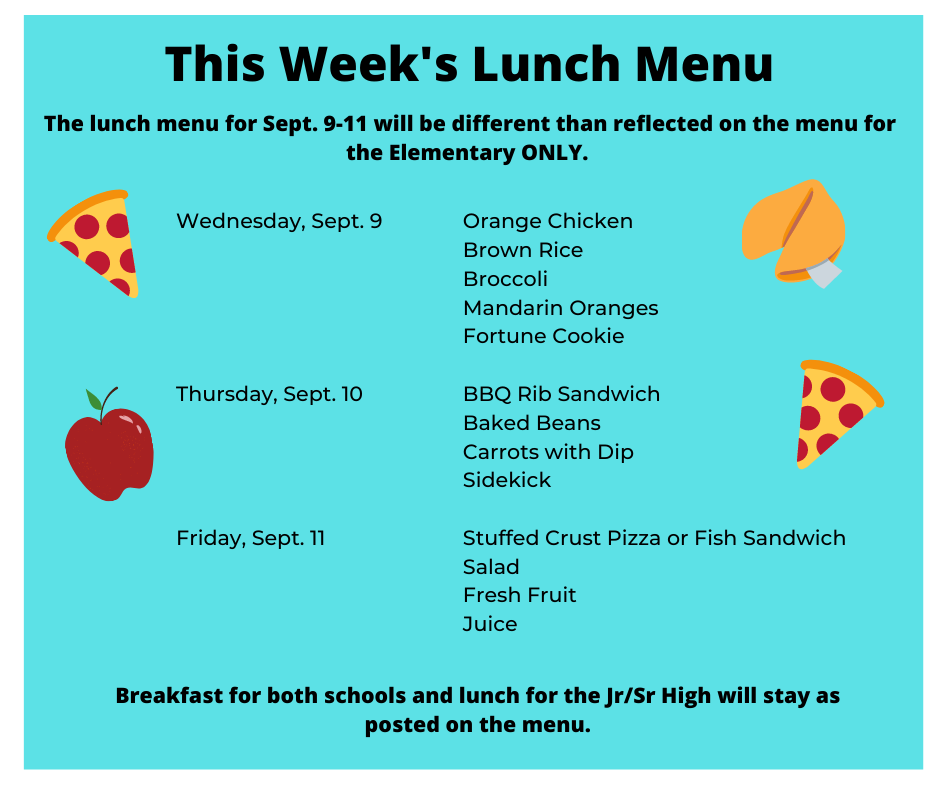 Lunch Menu Changes this week